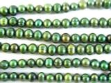 Variegated Green Metallic Potato Pearl Beads 7mm (PRL107)
