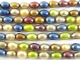 Assorted Metallic Irregular Oval Pearl Beads 8mm (PRL114)