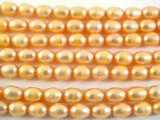 Peach Metallic Irregular Oval Pearl Beads 7mm (PRL115)