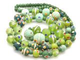 Green 'Eye' Graduated Glass Beads 16mm (JV796)