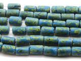 Light Blue w/Green Swirl Glass Beads 20mm (JV804)