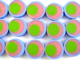 Periwinkle, Pink & Green Resin Beads 17mm (RES468)