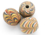 Yellow Feather Glass Bead 35-40mm (CB392)