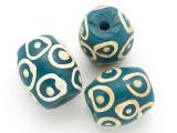 Teal w/White Circles Glass Bead 23mm (CB348)