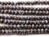 Brown w/Light Blue Stripe Glass Beads 10mm (JV906)