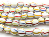 White w/Stripes Round Glass Beads 15mm (JV884)