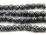 Black w/Blue Polka Dots Glass Beads 15mm (JV887)