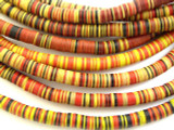 Yellow, Red & Black Vinyl Disc Beads 5mm (VY53)