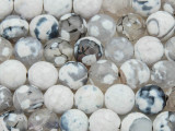 Black & White Faceted Round Fire Agate Gemstone Beads 10mm (GS2684)