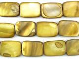 Golden Rectangular Shell Beads 19mm (SH472)