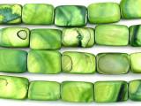 Green Rectangular Shell Beads 15mm (SH474)