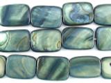 Blue/Gray Rectangular Shell Beads 19mm (SH475)