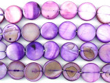 Purple Round Tabular Shell Beads 11mm (SH476)