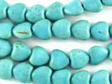 Turquoise Magnesite Heart Gemstone Beads 11mm  (GS3026)