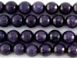 Purple Faceted Round Jade Gemstone Beads 10mm (GS3041)