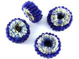 Cobalt Blue Beaded Felt Donut - Afghanistan 22mm (AF1378)