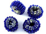 Cobalt Blue Beaded Felt Donut - Afghanistan 18mm (AF1384)