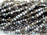 Smoky & Silver Crystal Glass Beads 4mm (CRY41)