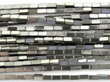 Silver Electroplated Hematite Square Tube Gemstone Beads 4mm (GS3068)