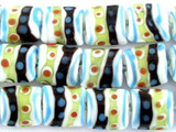 White w/Stripes Lampwork Glass Beads 16mm (LW1441)