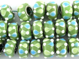 Olive Green w/Teardrops Lampwork Glass Beads 13mm - Large Hole (LW1478)