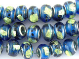 Blue w/Lime Foil Lampwork Glass Beads 13mm - Large Hole (LW1487)