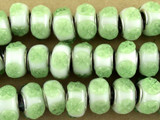 White w/Green Flowers Lampwork Glass Beads 15mm - Large Hole (LW1490)