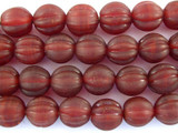 Red Fluted Glass Beads - Nepal 11mm (NP268)