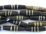 Dark Brown w/Stripes Carved Bone Beads 21-25mm (B1249)
