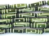 Olive Green Carved Bone Beads 18-22mm (B1284)