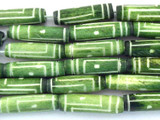 Spring Green Carved Bone Beads 18-22mm (B1285)
