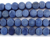 Blue Tabular Wood Beads 9mm - Indonesia (WD253)