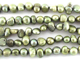 Olive Green Irregular Pearl Beads 7mm (PRL156)