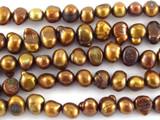 Metallic Brown Irregular Pearl Beads 7mm (PRL159)