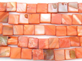 Flamingo Pink Square Tabular Shell Beads 11-12mm (SH176)