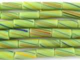 Green Striped Glass Tube Beads 14mm (T815)