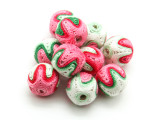 Cotton Wrapped Bead - Red, Pink, Green & White 15mm (CT162)
