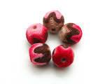 Cotton Wrapped Bead - Tan, Brown, Pink & Red 15mm (CT195)