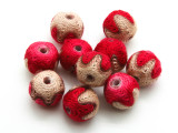 Cotton Wrapped Bead - Tan & Red 15mm (CT200)