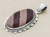 Sterling Silver & Print Stone Pendant 43mm (GSP90)