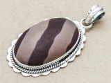 Sterling Silver & Print Stone Pendant 42mm (GSP91)