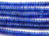 Transparent Blue Saucer Glass Beads 10mm (JV917)