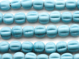 Light Blue Fluted Glass Beads 8-11mm (JV930)
