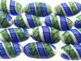 White & Blue Fiesta Glass Beads 20mm (JV941)