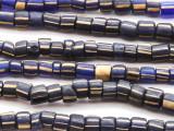 Cobalt Blue w/ Stripes Graduated Glass Beads 2-5mm (JV990)