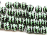 Black & Green Fiesta Glass Beads 12-14mm (JV947)