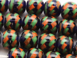 Cobalt Blue, Green & Orange Fiesta Glass Beads 12-14mm (JV948)