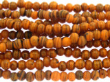 Dark Orange w/Stripes Glass Beads 3-4mm (JV1014)