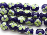 Dark Blue w/Green Flowers Glass Beads 11mm (JV1068)