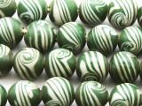 Green w/White Swirl Glass Beads 10-12mm (JV1127)